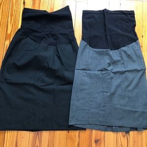 Lot of 2 Maternity Pencil Skirts Pea in a Pod XS